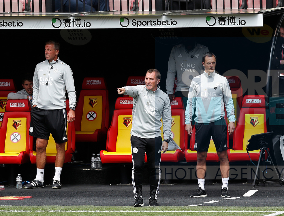 Brendan Rogers manager of Leicester City during the Premier League match at Vicarage Road, Watford. Picture date: 20th June 2020. Picture credit should read: Darren Staples/Sportimage