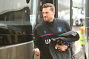Aston Villa goalkeeper Mark Bunn (31) arrives at the Pride Park Stadium during the EFL Sky Bet Championship match between Derby County and Aston Villa at the Pride Park, Derby, England on 10 November 2018.