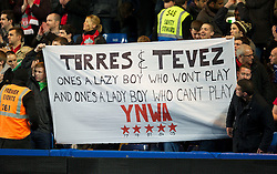 29.11.2011, Stamford Bridge, London, ENG, PL, viertelfinale, FC Liverpool vs Chelsea FC, im Bild Liverpool fans' banner reading 'Torres & Tevez - One's a Lazy Boy Who Won't Play And One's a Lady Boy Who Can't Play' during the football match of English Football League Cup, Quarter-Final, between FC Liverpool and Chelsea FC at Stamford Bridge Stadium, London, United Kingdom on 2011/11/29. EXPA Pictures © 2011, PhotoCredit: EXPA/ Sportida/ David Rawcliff..***** ATTENTION - OUT OF ENG, GBR, UK *****