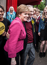 SNP leader Nicola Sturgeon joins candidate Jim Eadie on a visit to the Victor Hugo Deli in the battleground seat of Edinburgh South.<br /> <br /> &copy; Dave Johnston/ EEm