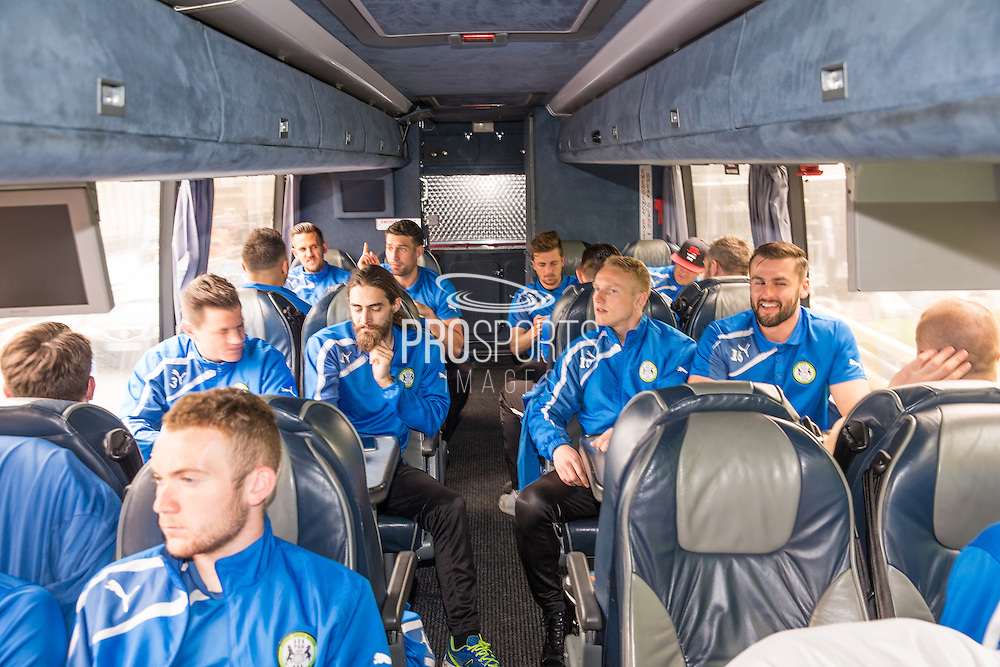 On the team bus for Forest Green Rovers Football Club Familiarisation visit to Wembley Stadium, London, England on 10 May 2016. Photo by Shane Healey.