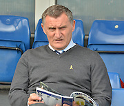 Coventry City manager, Tony Mowbray takes a few minutes  before the Sky Bet League 1 match between Bury and Coventry City at Gigg Lane, Bury, England on 26 September 2015. Photo by Mark Pollitt.
