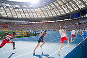 (L) Grzegorz Zimniewicz and (R) Karol Zalewski both from Poland compete in men's relay 4x100 meters qualification during the 14th IAAF World Athletics Championships at the Luzhniki stadium in Moscow on August 18, 2013.<br /> <br /> Russian Federation, Moscow, August 18, 2013<br /> <br /> Picture also available in RAW (NEF) or TIFF format on special request.<br /> <br /> For editorial use only. Any commercial or promotional use requires permission.<br /> <br /> Mandatory credit:<br /> Photo by &copy; Adam Nurkiewicz / Mediasport