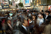 crowd near the zebra crossing at the famous zebra crossing in Shibuya