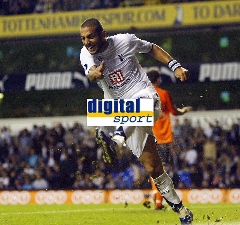 Photo: Chris Ratcliffe.<br /> Tottenham Hotspur v Slavia Prague. UEFA Cup. 28/09/2006.<br /> Mido of Spurs can't believe he missed the easiest chance of the game.