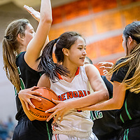 Gallup Bengal Ashley Antone (1) wrestles possession from the Farmington Scorpions at Gallup High School Saturday.