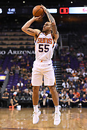 Oct 11, 2017; Phoenix, AZ, USA; Phoenix Suns guard Mike James (55) shoots the ball in the first half of the game against the Portland Trail Blazers at Talking Stick Resort Arena. Mandatory Credit: Jennifer Stewart-USA TODAY Sports
