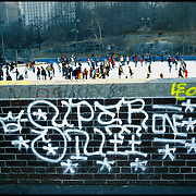 Skating Wollman Rink Central Park New York City - Graffiti on Wall.  1973