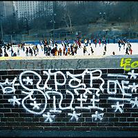 Skating Wollman Rink Central Park New York City - Graffiti on Wall.  1973