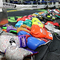 LAS VEGAS, NV - APRIL 14: Boxing gear is lined up on the mat prior to WBC/WBA welterweight champion Floyd Mayweather Jr's work out at the Mayweather Boxing Club on April 14, 2015 in Las Vegas, Nevada. Mayweather will face WBO welterweight champion Manny Pacquiao in a unification bout on May 2, 2015 in Las Vegas.  (Photo by Alex Menendez/Getty Images) *** Local Caption ***
