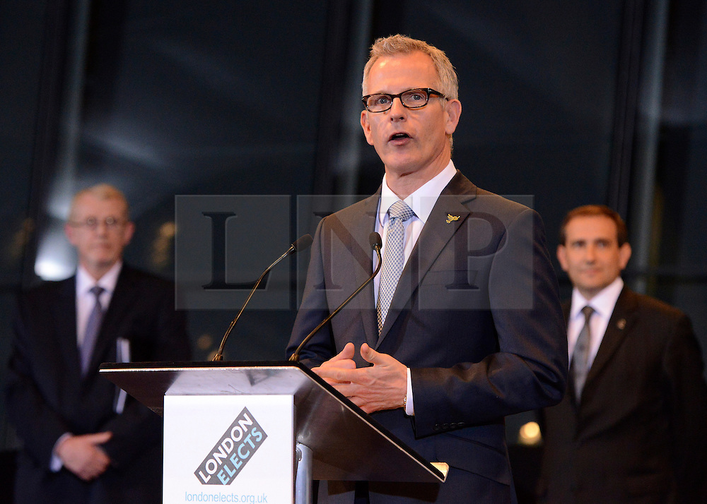© London News Pictures. 04/05/2012. London, UK. BRIAN PADDICK makes a speech after loosing the mayoral election. BORIS JOHNSON speaks after being elected as Mayor of London at London City Hall on May 4, 2012. Johnson, a Conservative member of Parliament, defeated Ken Livingstone to become mayor of London for a second term. Photo credit: Stephen Simpson/LNP