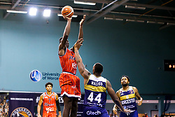 Daniel Edozie of Bristol Flyers shoots - Mandatory by-line: Robbie Stephenson/JMP - 05/10/2018 - BASKETBALL - University of Worcester Arena - Worcester, England - Bristol Flyers v Worcester Wolves - British Basketball League