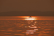 Golden African Sun set over Lake Kariba, Zimbabwe
