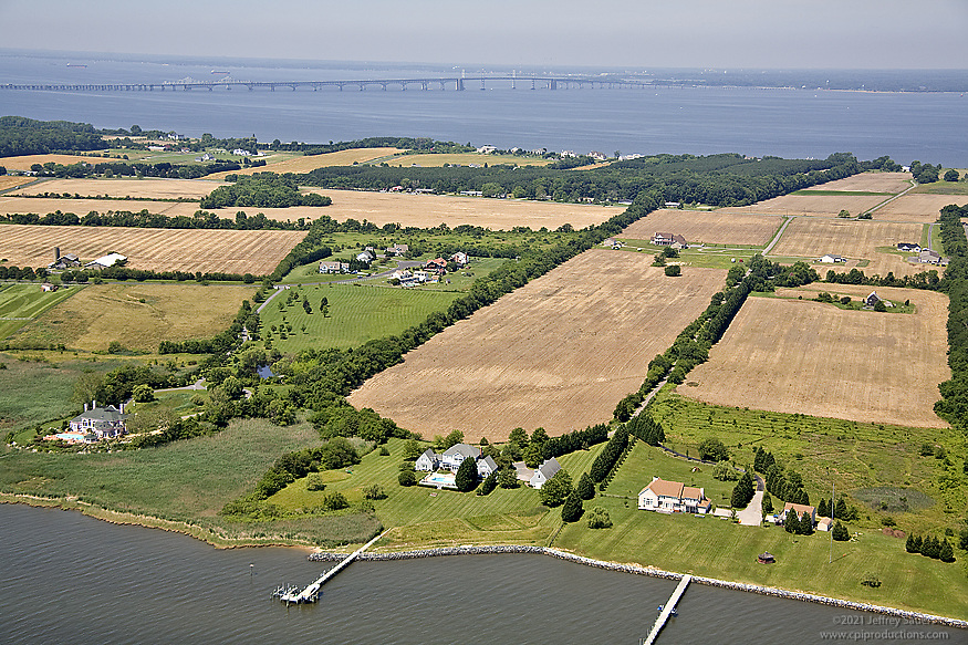 Aerial Image of Eastern Shore Residences with Chesapeake Bay Bridge