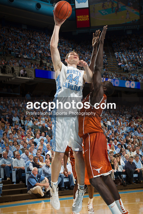 CHAPEL HILL, NC - DECEMBER 21: Tyler Zeller #44 of the North Carolina Tar Heels shoots the ball during a game agains the Texas Longhorns on December 21, 2011 at the Dean E. Smith Center in Chapel Hill, North Carolina. North Carolina won 62-83. (Photo by Peyton Williams/UNC/Getty Images) *** Local Caption *** Tyler Zeller