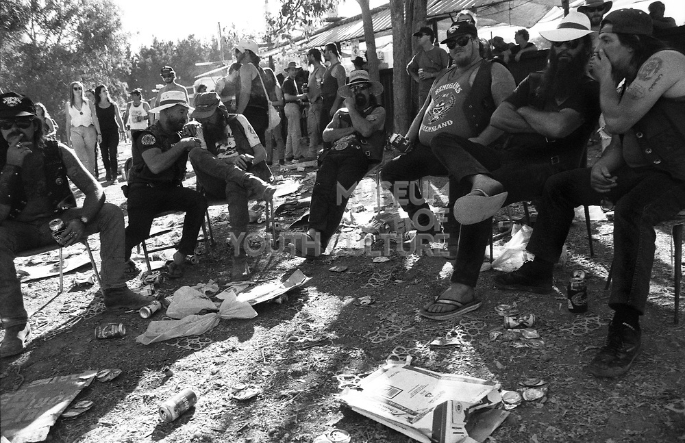 A group of bikers relaxing at Bindoon Western Australia 1990's.