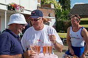 """Henley on Thames, United Kingdom, 3rd July 2018, Saturday,  """"Henley Royal Regatta"""",  Leander Club Olympians, celebrating Leander 200 year row past,  Left Mark BANKS, Right Steve WILLIAMS  View, Henley Reach, River Thames, Thames Valley, England, UK."""
