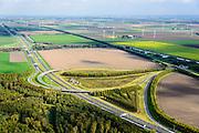 Nederland, Flevoland, Almere, 10-10-2014; knooppunt Almere, A6 en A27 met de Olifanten van Almere, kunstwerk van Tom Claassen.<br /> Almere junction with Almere Elephants (artwork).<br /> luchtfoto (toeslag op standard tarieven);<br /> aerial photo (additional fee required);<br /> copyright foto/photo Siebe Swart