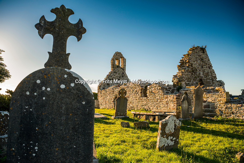 Hook Head, Wexford, Southern Ireland, August 2016.  A plaque on the gate of St. Dubhan's Church reads. A Welsh monk named Dubhan established a monastery on this site in the 5th century and the peninsula became known as Rinn Dubhain. As Dubhain also means hook this was later anglicized as Hook Head.A coastal road trip from Kilkenny to Cork via Wexford and Waterford.  Photo by Frits Meyst / MeystPhoto.com
