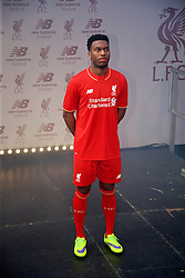 LIVERPOOL, ENGLAND - Friday, April 10, 2015: Liverpool's Daniel Sturridge during the launch for the New Balance 2015/16 home kit at Anfield. (Pic by David Rawcliffe/Propaganda)