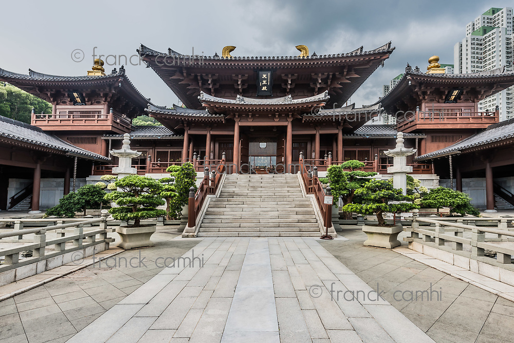 Chi Lin Nunnery courtyard at Kowloon in Hong Kong