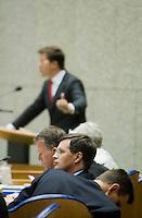 Nederland. Den Haag, 17 september 2008.<br /> De algemene beschouwingen in de tweede kamer.<br /> Bos, balkenende en Rouvoet luisteren naar Mark Rutte<br /> Foto Martijn Beekman<br /> NIET VOOR PUBLIKATIE IN LANDELIJKE DAGBLADEN.