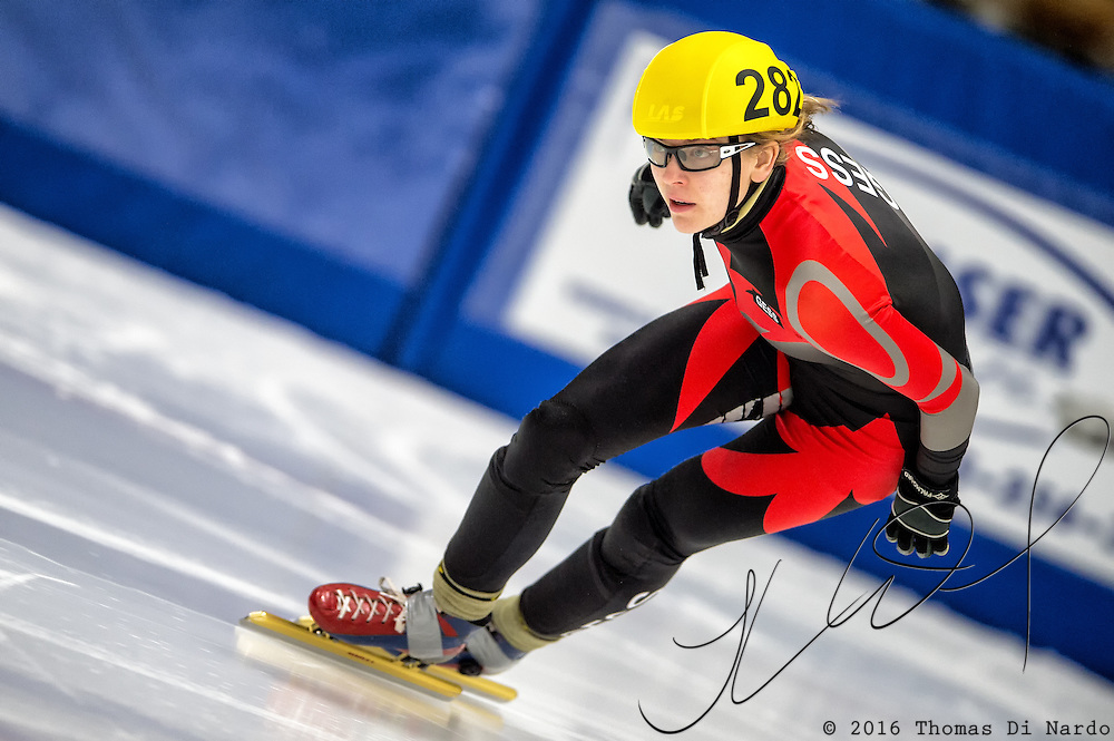 March 20, 2016 - Verona, WI - Hannah Bosman, skater number 282 competes in US Speedskating Short Track Age Group Nationals and AmCup Final held at the Verona Ice Arena.