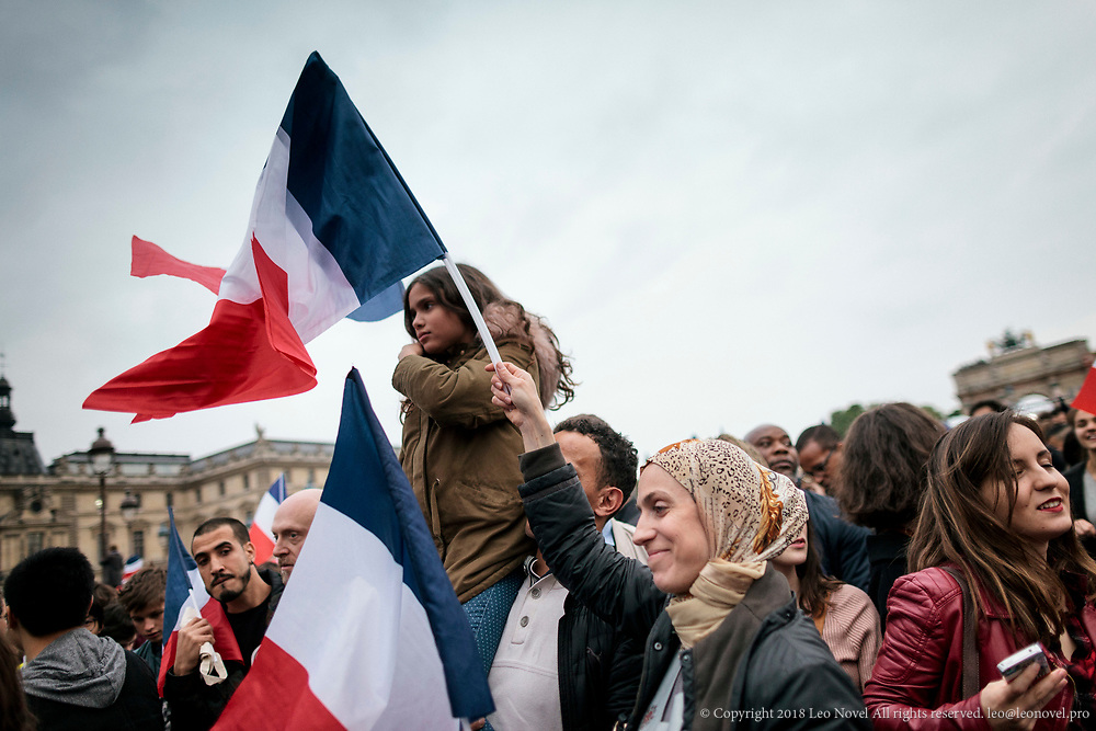 7  May  2017 &ndash; Paris, France<br /> Supporters of Emmanuel Macron, gather in Louvre to celebrate his victory in the second round of French presidential elections.