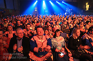 Audience applauds Sami Grand Prix performance in the Batkeharji auditorium at the Sami Easter Festival in Kautokeino, Finnmark, Norway.