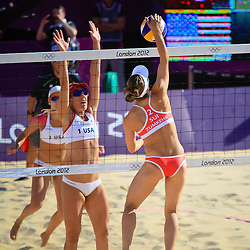 America's Kessy and Ross against Switzerland's Kuhn and Zumkehr in Beach Volleyball.