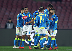 February 21, 2019 - Rome, Italy - SSC Napoli v FC Zurich - UEFA Europa League Round of 32.Adam Ounas of Napoli celebrates with the teammates after the goal of 2-0 scored at San Paolo Stadium in Naples, Italy on February 21, 2019. (Credit Image: © Matteo Ciambelli/NurPhoto via ZUMA Press)
