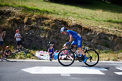 Leah Thomas (USA) goes solo on the penultimate climb at La Course by Le Tour de France 2018, a 112.5 km road race from Annecy to Le Grand Bornand, France on July 17, 2018. Photo by Sean Robinson/velofocus.com