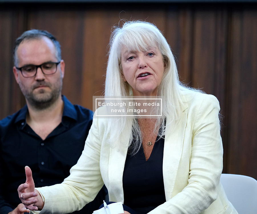 Scotland's Democratic Future: Shaping Scotland's Citizens' Assembly<br /> <br /> The Electoral Reform Society organised a talk at Edinburgh University to explain how a citizens' assembly would work in Scotland.<br /> <br /> Pictured: Lesley Riddoch with Dr Oliver Escobar (left)<br /> <br /> Alex Todd | Edinburgh Elite media