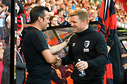 Everton manager Marco Silva and AFC Bournemouth manager Eddie Howe shake hands ahead of the Premier League match between Bournemouth and Everton at the Vitality Stadium, Bournemouth, England on 15 September 2019.