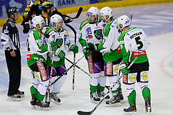 Team HDD Tilia Olimpija celebrate goal during of ice-hockey match between Moser Medical Graz 99ers and HDD Tilia Olimpija in 11th Round of EBEL league, on October 14, 2011 at Eisstadion Graz-Liebenau, Graz, Austria. (Photo By Matic Klansek Velej / Sportida)