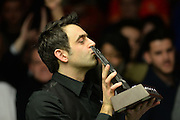 21.02.2016. Cardiff Arena, Cardiff, Wales. Bet Victor Welsh Open Snooker. Ronnie O'Sullivan versus Neil Robertson. Ronnie O'Sullivan beats Neil Robertson and is seen kissing the trophy.
