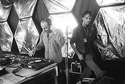 Adam and James Electric Orgasm spinning decks, Ashton Court Festival, Bristol, UK, 1995.