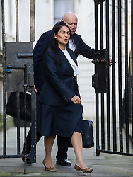 © Licensed to London News Pictures. 23/02/2016. London, UK. Minister of State for Employment PRITI PATEL and Secretary of State for Work and Pensions IAIN DUNCAN SMITH arrive at number 10 Downing Street in Westminster, London for cabinet meeting. Photo credit: Ben Cawthra/LNP