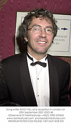 Song writer ANDY HILL at a reception in London on 20th September 2001.OSO 46