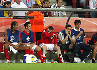 Photo: Chris Ratcliffe.<br /> Sweden v England. FIFA World Cup 2006. 20/06/2006.<br /> Wayne Rooney of England is disappointed at being substituted.
