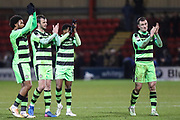 FGR players applaud the fans at the end of the match during the EFL Sky Bet League 2 match between Crewe Alexandra and Forest Green Rovers at Alexandra Stadium, Crewe, England on 20 March 2018. Picture by Shane Healey.