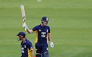 Ben Stokes of Durham County Cricket Club acknowledges the crowd after hitting a half century during the Royal London One Day Cup match at Emirates Durham ICG, Chester-le-Street<br /> Picture by Simon Moore/Focus Images Ltd 07807 671782<br /> 06/09/2014