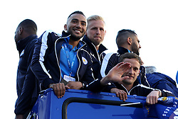 Danny Simpson, Kasper Schmeichel and Andy King of Leicester City look at the crowds - Mandatory by-line: Robbie Stephenson/JMP - 16/05/2016 - FOOTBALL - Leicester City FC, Barclays Premier League Winners 2016 - Leicester City Victory Parade