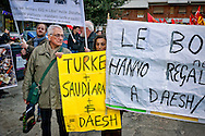 A rally of a thousand demonstrators   protested against Italian intervention in Libya and for the exit of NATO alliance. The event promoted by the Coordination against the war, the laws of war and NATO, was held in the district of Cinecittà where  is the headquarters of the Operational Command of interforce,  which is the structure of the chief of staff of the defense of the Italian armed forces. Rome, Italy 12th March 2016.