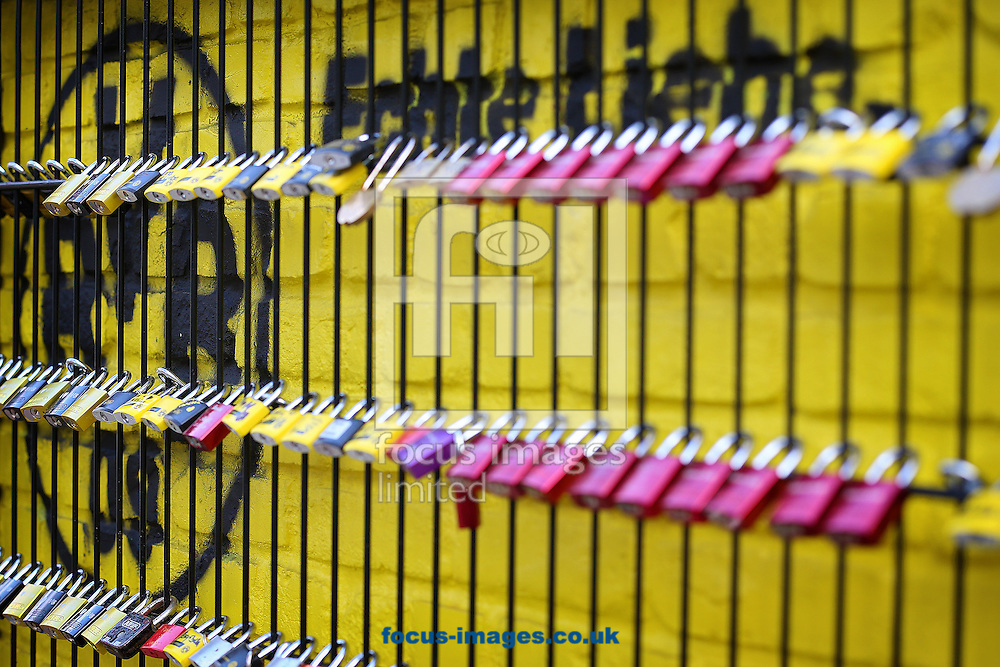 Padlocks, known locally as love locks hang attached to the 'Wand der Liebe' (Wall of Love) close to the Stadium before the UEFA Champions League match between Borussia Dortmund and Real Madrid at Westfalenstadion, Dortmund<br /> Picture by Richard Calver/Focus Images Ltd +447792 981244<br /> 08/04/2014