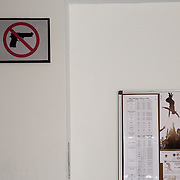 In the hall of the Russian Center of Betlehem, the poster of Mobile Circus 2013 and..the prohibition to enter with a gun