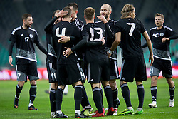 Players of National team of Belarus celebrate goal during friendly football match between National teams of Slovenia and Belarus, on March 27, 2018 in SRC Stozice, Ljubljana, Slovenia. Photo by Urban Urbanc / Sportida