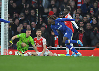 Football - 2019 / 2020 Premier League - Arsenal vs. Chelsea<br /> <br /> Tammy Abraham of Chelsea celebrates his winning goal leaving Shkodran Mustafi and goalkeeper, Bernd Leno on the ground, at The Emirates.<br /> <br /> COLORSPORT/ANDREW COWIE