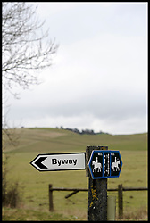 Byway and Public Bridleway sign in the countryside outside Devizes, Wiltshire, Friday February 17,  2012. Photo By Andrew Parsons/i-Images