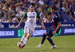 September 30, 2018 - Valencia, U.S. - VALENCIA, SPAIN - SEPTEMBER 30: Ibai G—mez, midfielder of Deportivo Alaves competes for the ball with Jose Campa–a, midfielder of Levante UD during the La Liga match between Levante UD and Deportivo Alaves at Estadio Ciutat de Valencia on September 30, 2018, in Valencia, Spain. (Photo by Carlos Sanchez Martinez/Icon Sportswire) (Credit Image: © Carlos Sanchez Martinez/Icon SMI via ZUMA Press)